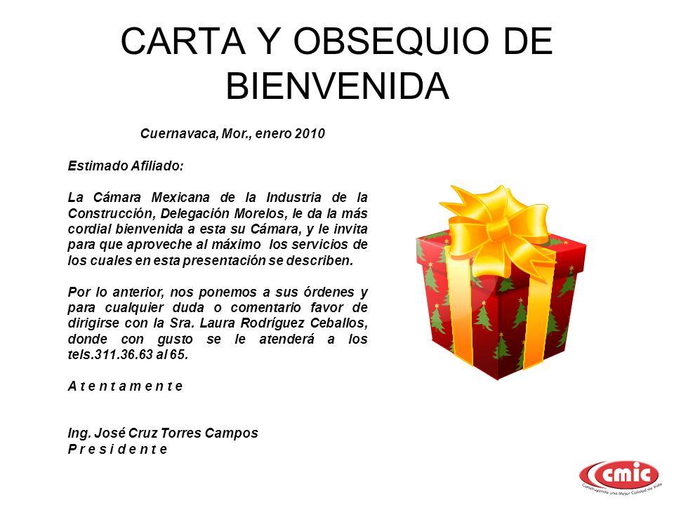 CARTA Y OBSEQUIO DE BIENVENIDA