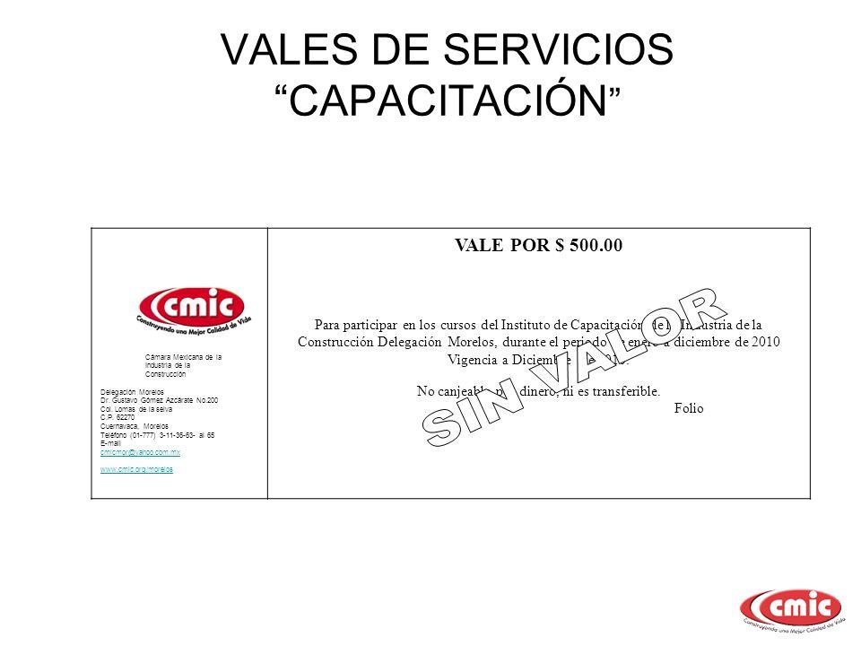 VALES DE SERVICIOS CAPACITACIÓN