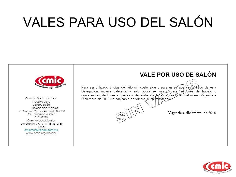VALES PARA USO DEL SALÓN