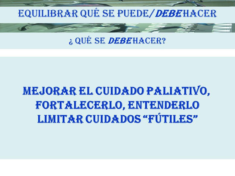 MEJORAR EL CUIDADO PALIATIVO, FORTALECERLO, ENTENDERLO