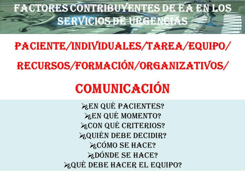 FACTORES CONTRIBUYENTES DE EA EN LOS SERVICIOS DE URGENCIAS