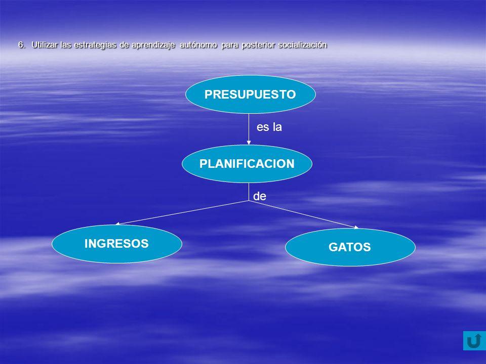 GATOS PRESUPUESTO PLANIFICACION INGRESOS