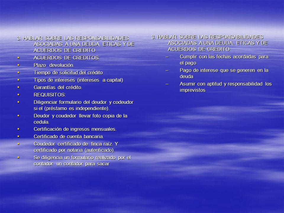 3. HABLAR SOBRE LAS RESPONSABILIDADES ASOCIADAS A UNA DEUDA, ETICAS Y DE ACUERDOS DE CREDITO