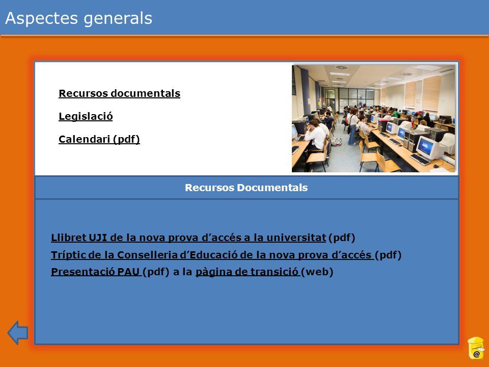 Aspectes generals Recursos documentals Legislació Calendari (pdf)