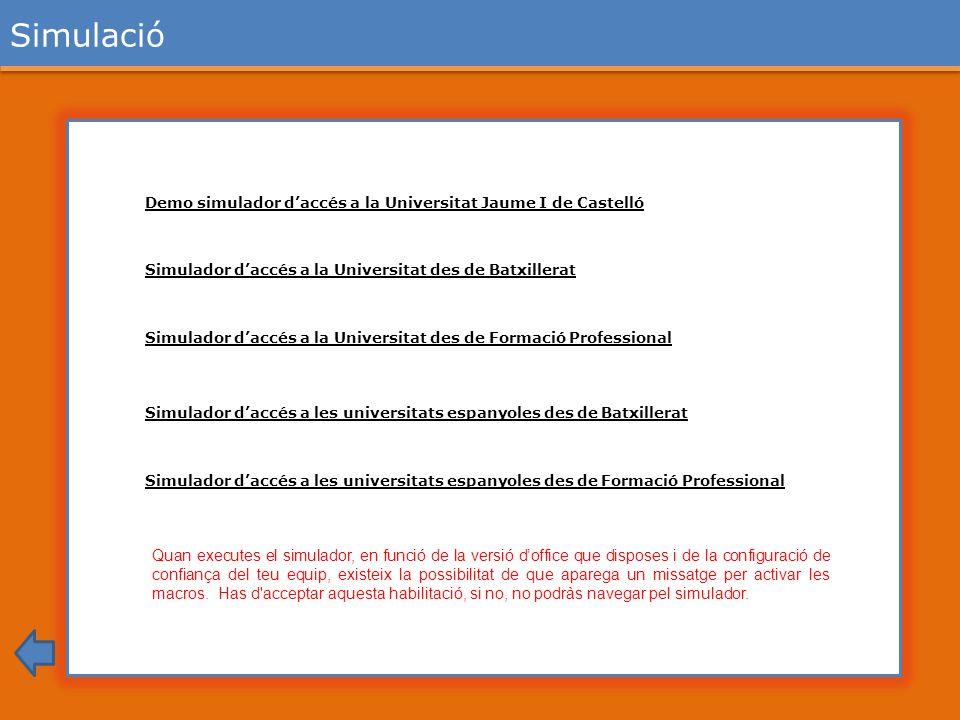 Simulació Demo simulador d'accés a la Universitat Jaume I de Castelló. Simulador d'accés a la Universitat des de Batxillerat.