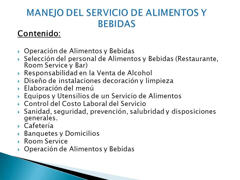MANEJO DEL SERVICIO DE ALIMENTOS Y BEBIDAS
