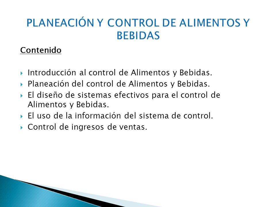 PLANEACIÓN Y CONTROL DE ALIMENTOS Y BEBIDAS