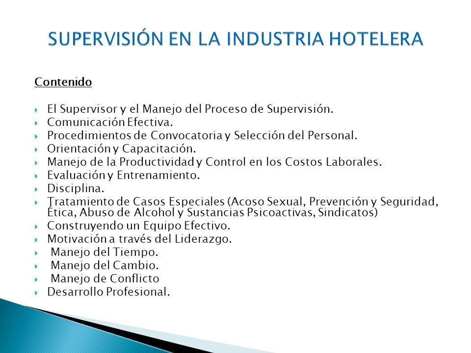 SUPERVISIÓN EN LA INDUSTRIA HOTELERA