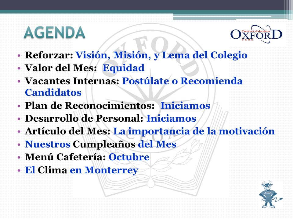 AGENDA Reforzar: Visión, Misión, y Lema del Colegio