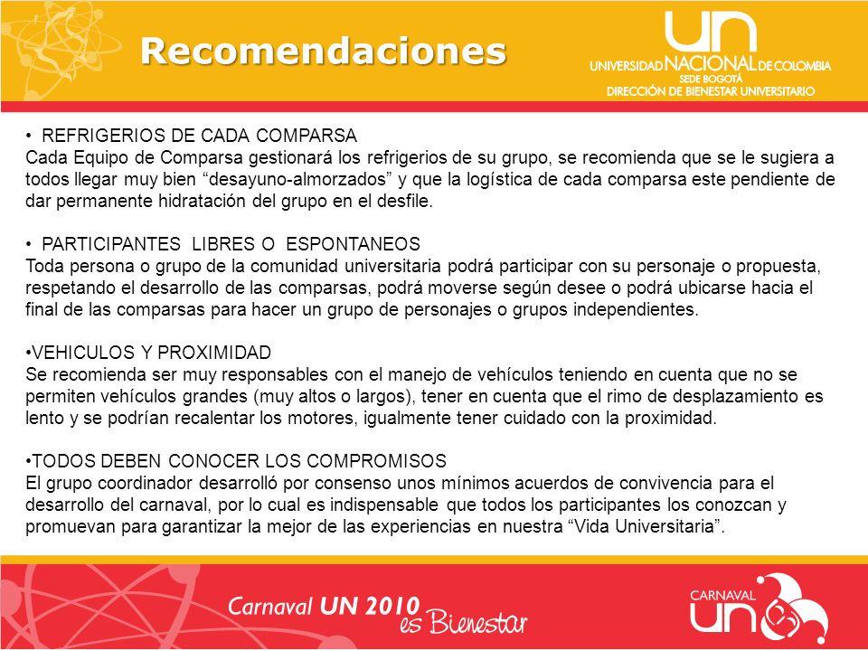 Recomendaciones REFRIGERIOS DE CADA COMPARSA