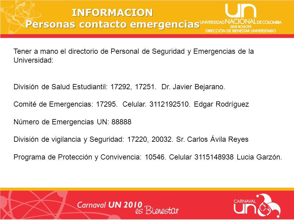 INFORMACION Personas contacto emergencias