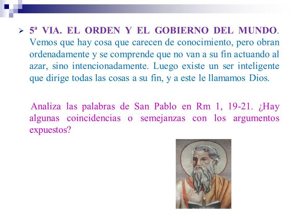 5ª VIA. EL ORDEN Y EL GOBIERNO DEL MUNDO