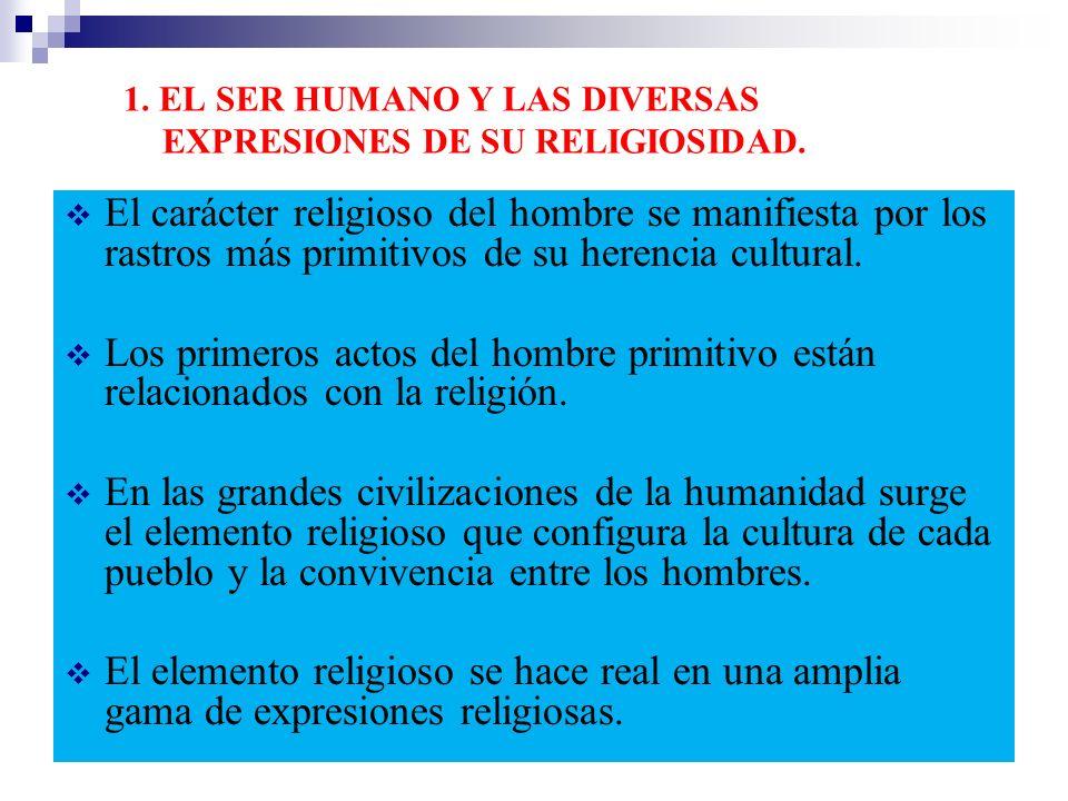 1. EL SER HUMANO Y LAS DIVERSAS EXPRESIONES DE SU RELIGIOSIDAD.
