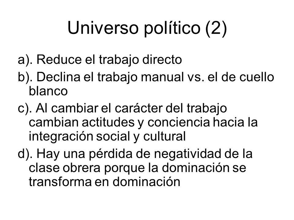 Universo político (2) a). Reduce el trabajo directo