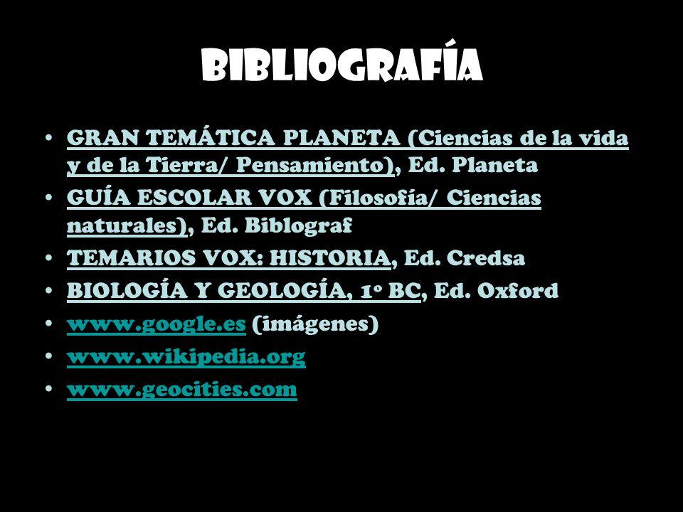 Bibliografía GRAN TEMÁTICA PLANETA (Ciencias de la vida y de la Tierra/ Pensamiento), Ed. Planeta.