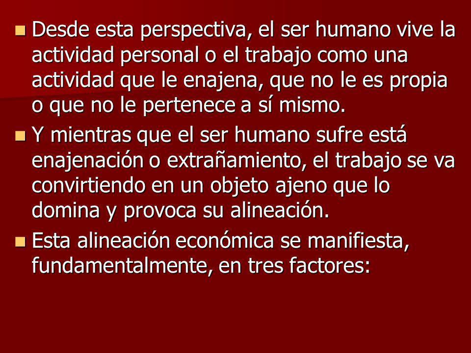 Desde esta perspectiva, el ser humano vive la actividad personal o el trabajo como una actividad que le enajena, que no le es propia o que no le pertenece a sí mismo.