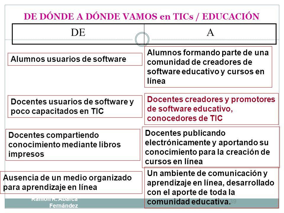 DE DÓNDE A DÓNDE VAMOS en TICs / EDUCACIÓN