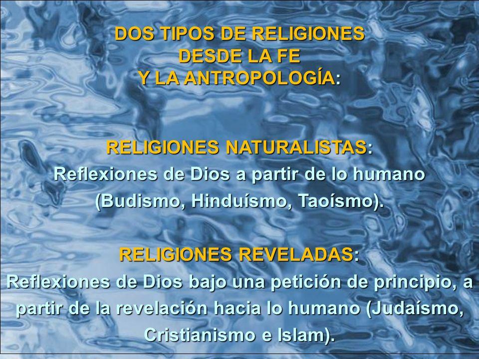 DOS TIPOS DE RELIGIONES DESDE LA FE Y LA ANTROPOLOGÍA: