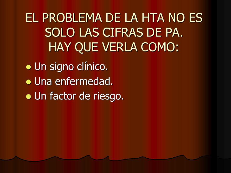 EL PROBLEMA DE LA HTA NO ES SOLO LAS CIFRAS DE PA. HAY QUE VERLA COMO: