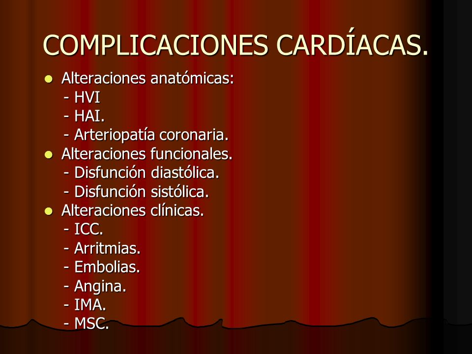 COMPLICACIONES CARDÍACAS.
