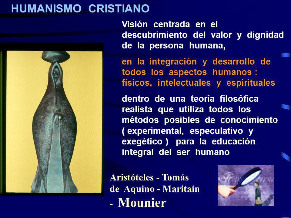 HUMANISMO CRISTIANO Aristóteles - Tomás de Aquino - Maritain - Mounier