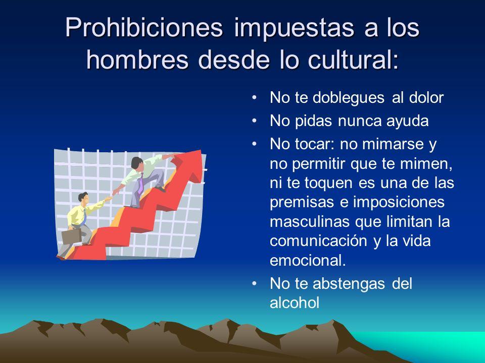 Prohibiciones impuestas a los hombres desde lo cultural: