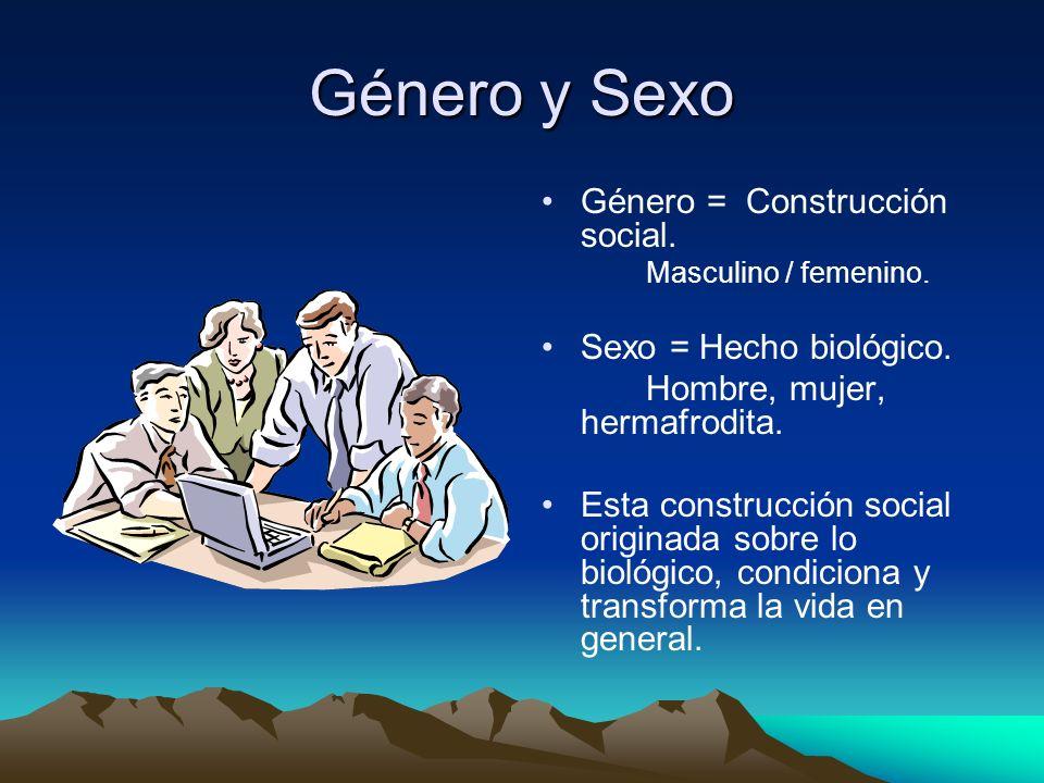Género y Sexo Género = Construcción social. Sexo = Hecho biológico.