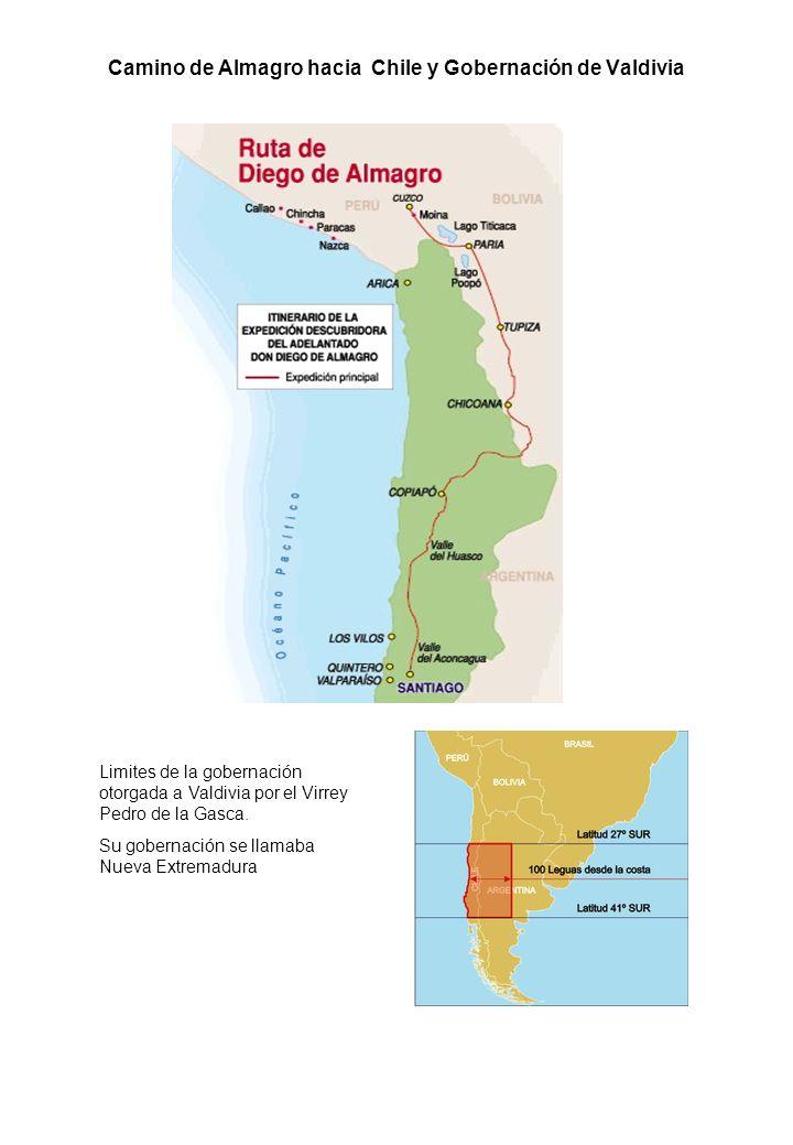 Camino de Almagro hacia Chile y Gobernación de Valdivia