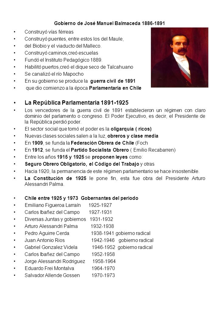 Gobierno de José Manuel Balmaceda 1886-1891
