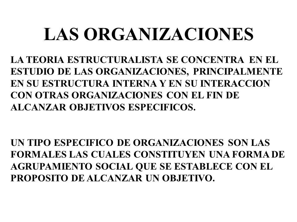 LAS ORGANIZACIONES LA TEORIA ESTRUCTURALISTA SE CONCENTRA EN EL ESTUDIO DE LAS ORGANIZACIONES, PRINCIPALMENTE.