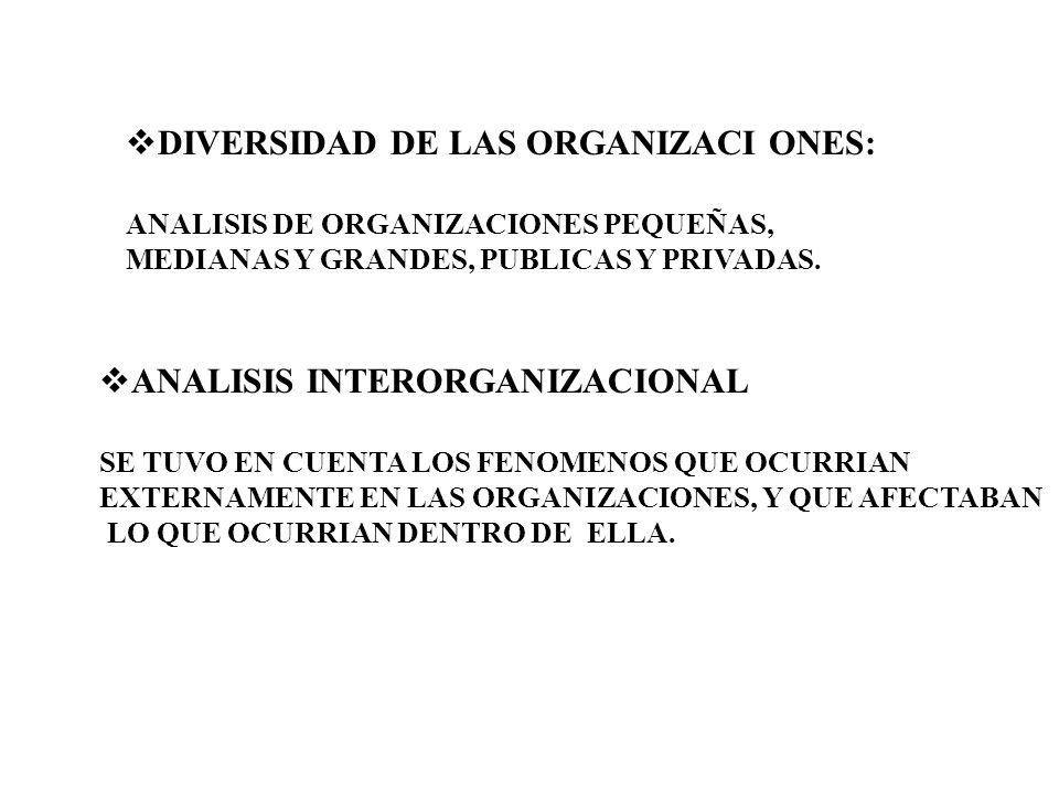 DIVERSIDAD DE LAS ORGANIZACI ONES: