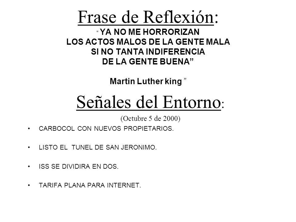 Frase de Reflexión: YA NO ME HORRORIZAN LOS ACTOS MALOS DE LA GENTE MALA SI NO TANTA INDIFERENCIA DE LA GENTE BUENA Martin Luther king