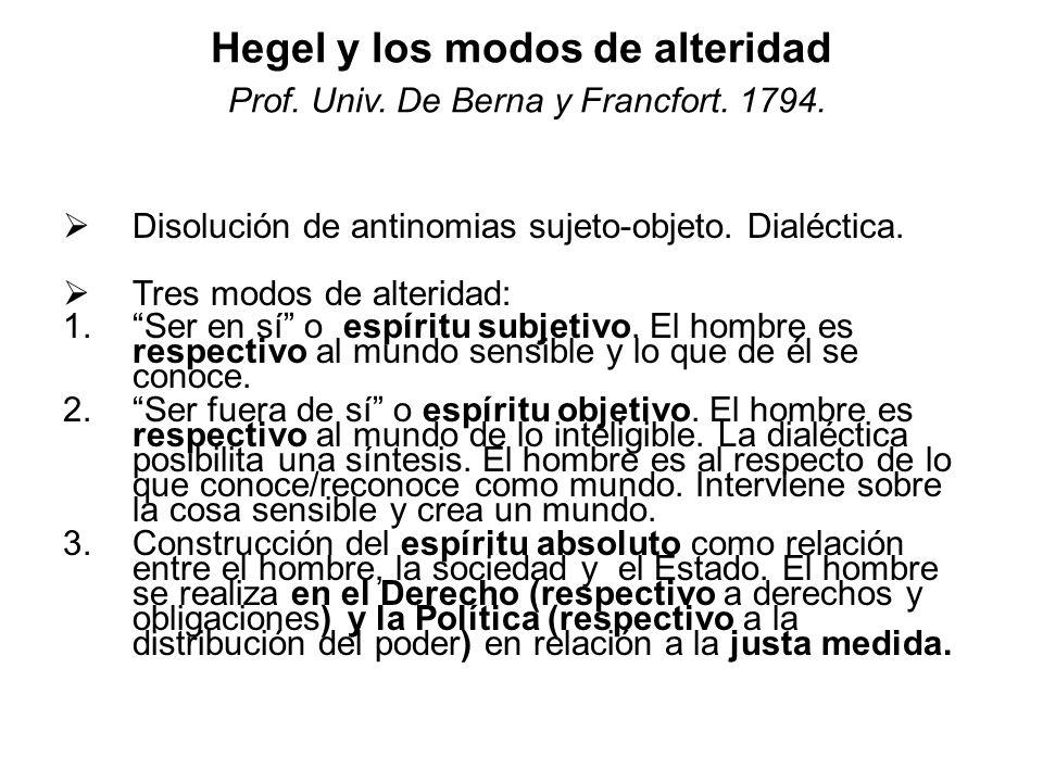 Hegel y los modos de alteridad Prof. Univ. De Berna y Francfort. 1794.