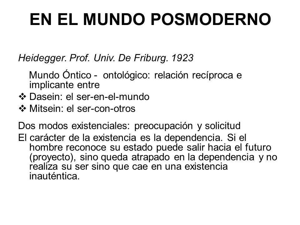 EN EL MUNDO POSMODERNO Heidegger. Prof. Univ. De Friburg. 1923