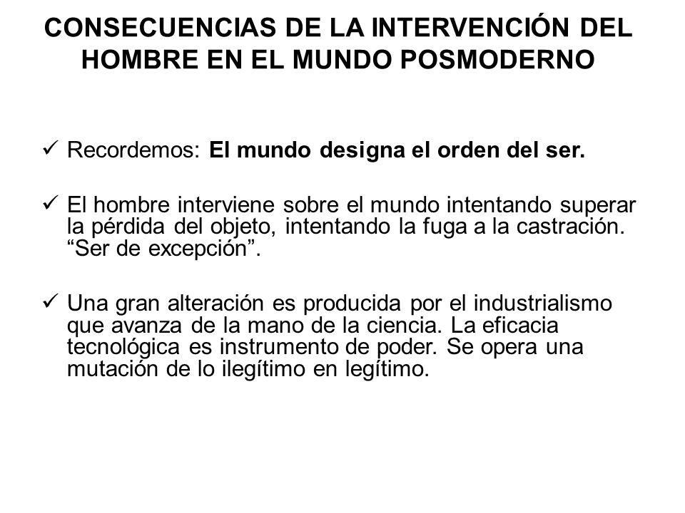 CONSECUENCIAS DE LA INTERVENCIÓN DEL HOMBRE EN EL MUNDO POSMODERNO