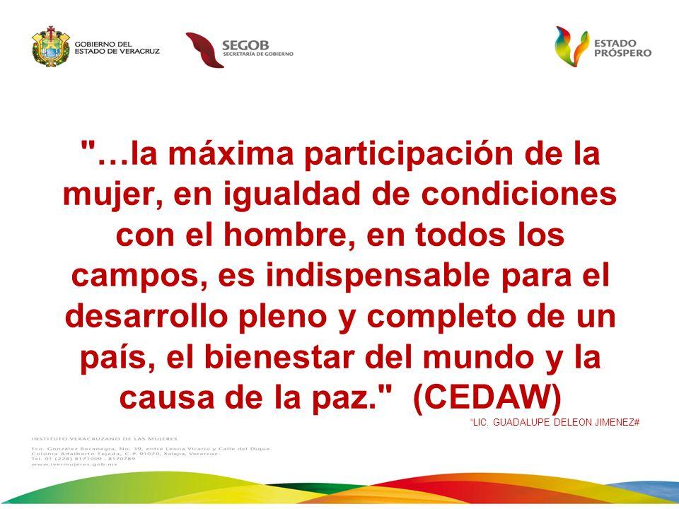 …la máxima participación de la mujer, en igualdad de condiciones con el hombre, en todos los campos, es indispensable para el desarrollo pleno y completo de un país, el bienestar del mundo y la causa de la paz. (CEDAW)