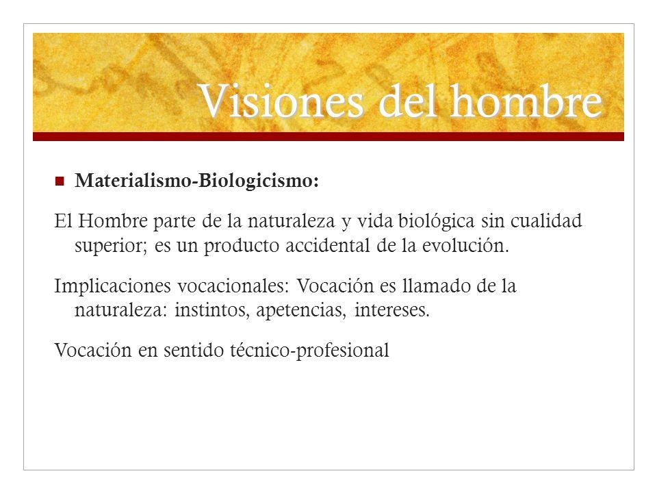 Visiones del hombre Materialismo-Biologicismo: