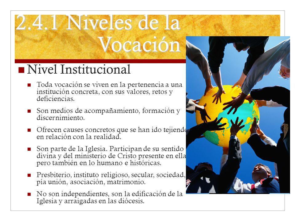 2.4.1 Niveles de la Vocación Nivel Institucional