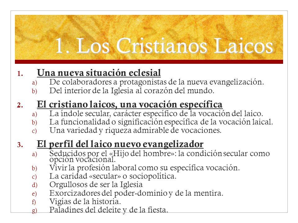 1. Los Cristianos Laicos Una nueva situación eclesial