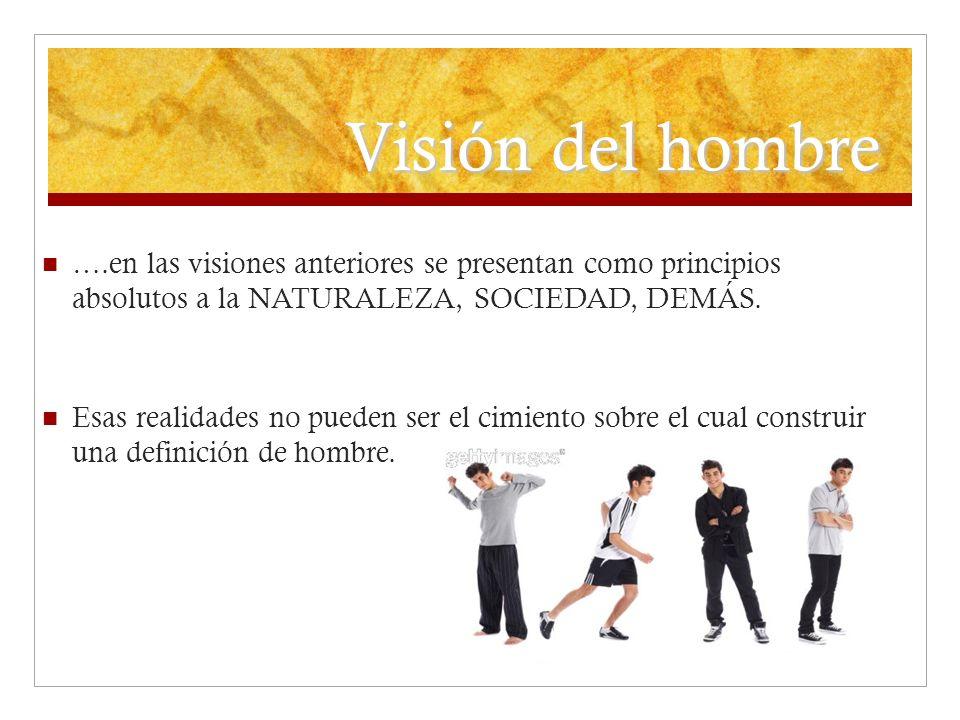Visión del hombre ….en las visiones anteriores se presentan como principios absolutos a la NATURALEZA, SOCIEDAD, DEMÁS.