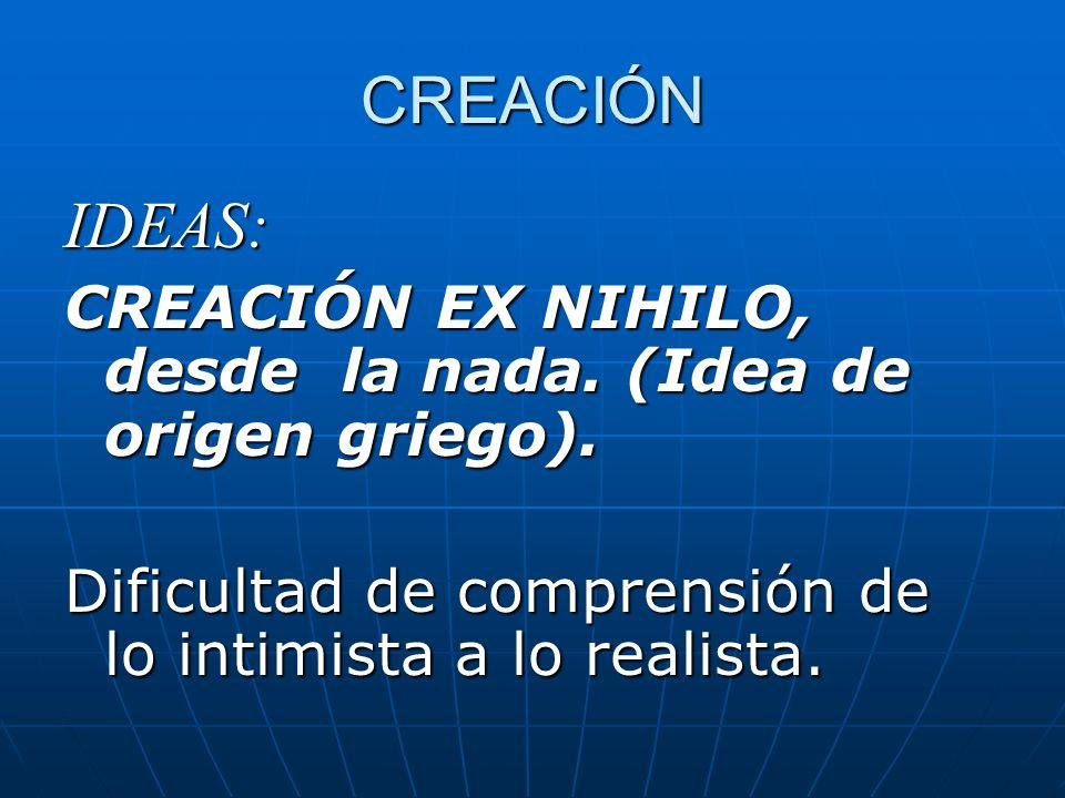 CREACIÓN IDEAS: CREACIÓN EX NIHILO, desde la nada.