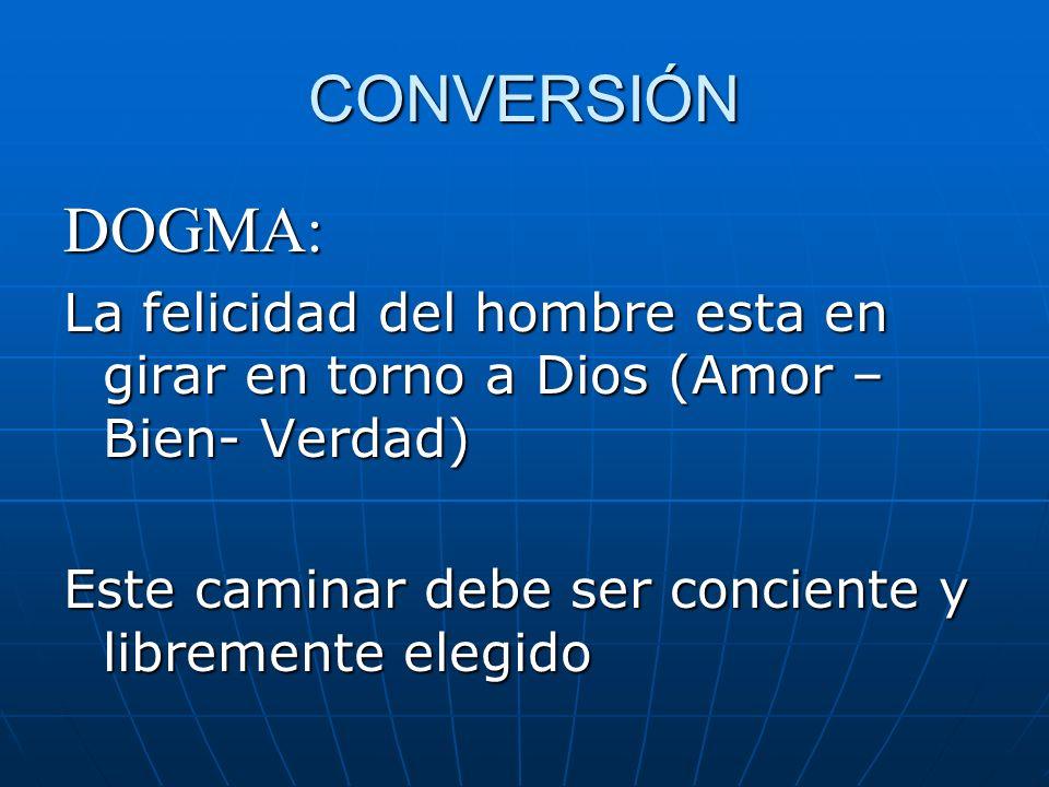 CONVERSIÓN DOGMA: La felicidad del hombre esta en girar en torno a Dios (Amor – Bien- Verdad) Este caminar debe ser conciente y libremente elegido.