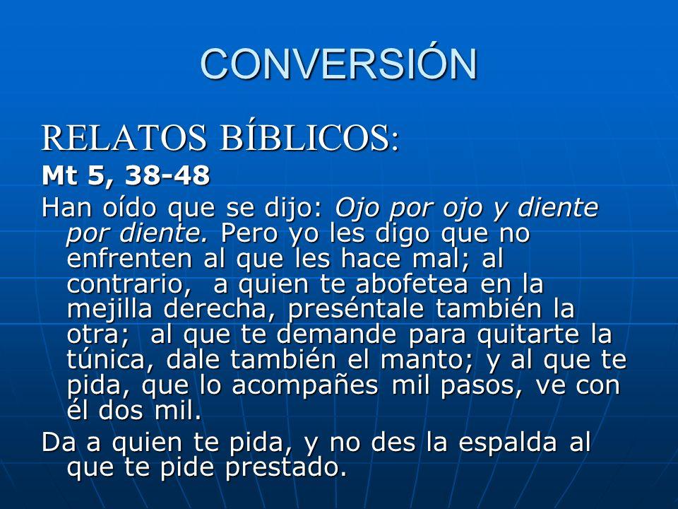 CONVERSIÓN RELATOS BÍBLICOS: Mt 5, 38-48