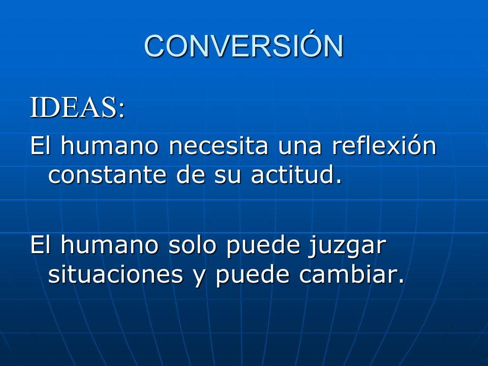 CONVERSIÓN IDEAS: El humano necesita una reflexión constante de su actitud.