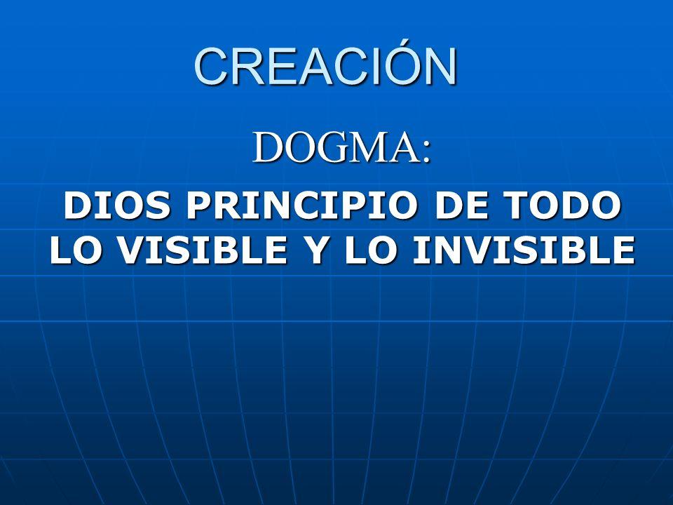 DOGMA: DIOS PRINCIPIO DE TODO LO VISIBLE Y LO INVISIBLE