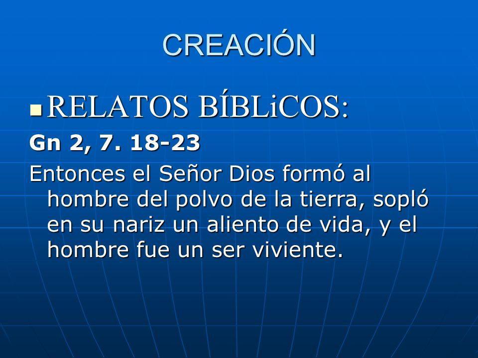 RELATOS BÍBLiCOS: CREACIÓN Gn 2, 7. 18-23