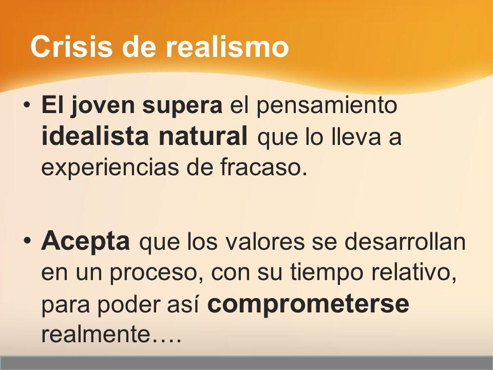 Crisis de realismo El joven supera el pensamiento idealista natural que lo lleva a experiencias de fracaso.