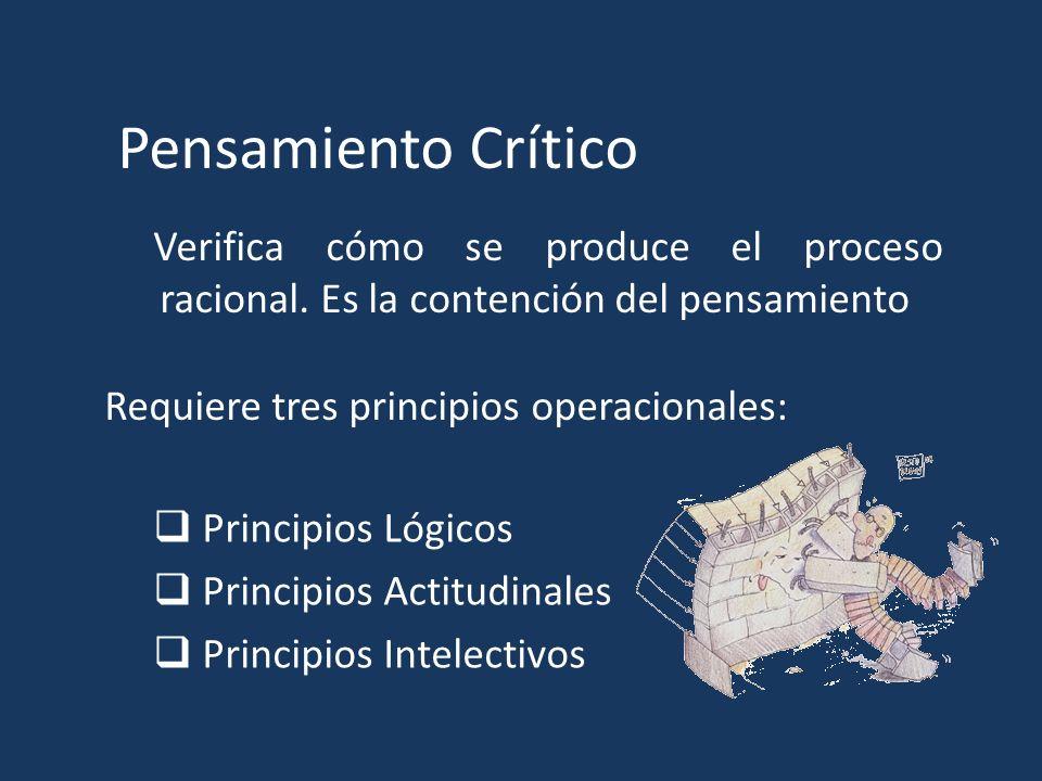Pensamiento Crítico Verifica cómo se produce el proceso racional. Es la contención del pensamiento.