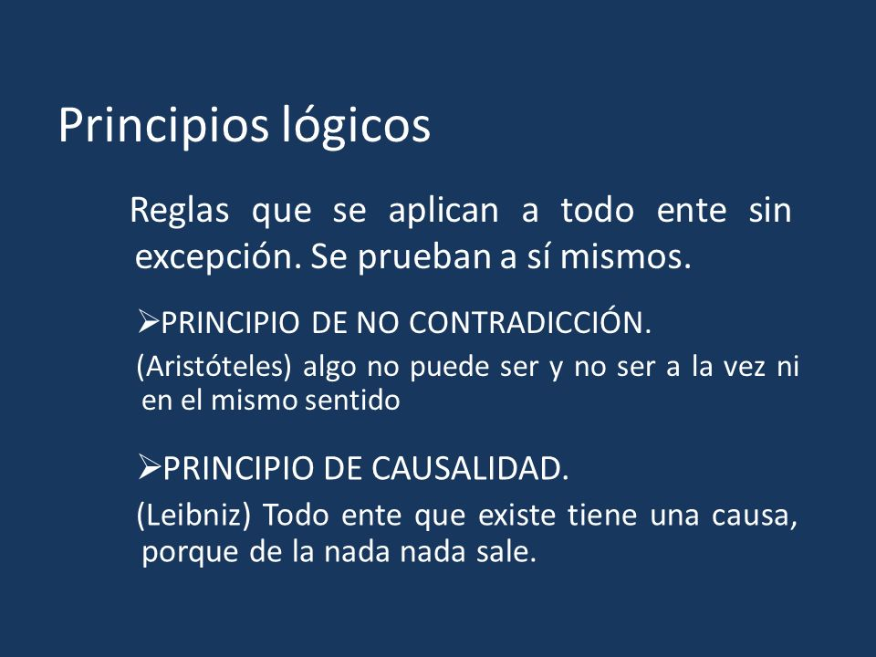 Principios lógicos Reglas que se aplican a todo ente sin excepción. Se prueban a sí mismos. PRINCIPIO DE NO CONTRADICCIÓN.