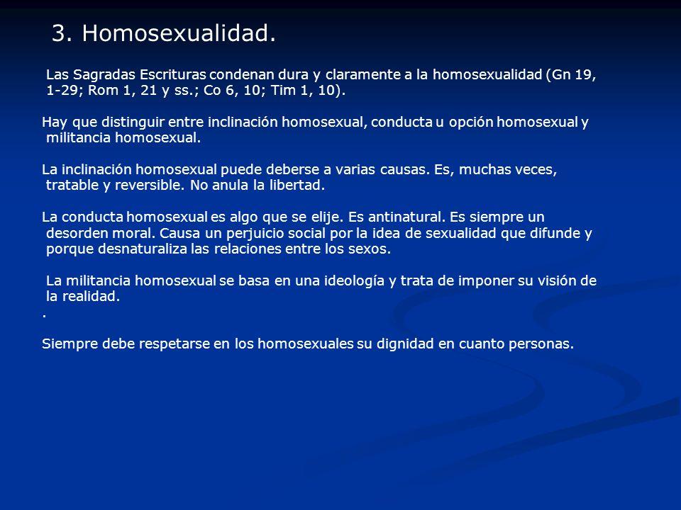 3. Homosexualidad. Las Sagradas Escrituras condenan dura y claramente a la homosexualidad (Gn 19, 1-29; Rom 1, 21 y ss.; Co 6, 10; Tim 1, 10).